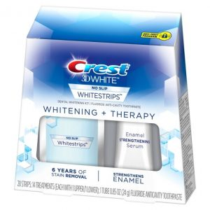 Bieliace pásiky Crest 3D Whitening + Therapy so sérom na posilnenie skloviny