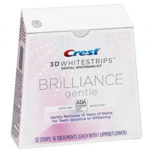 Bieliace pásiky Crest 3D BRILLIANCE gentle - na citlivé zuby